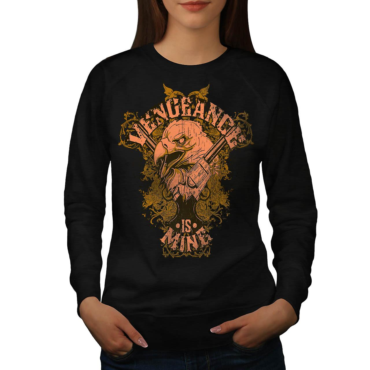 Vengeance Is Mine Vintage Women Black Sweatshirt | Wellcoda