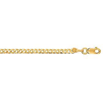 14k oro giallo 2,6 mm Sparkle-taglio Comfort Curb catena con astice Clasp Collana - Lunghezza: 16-24