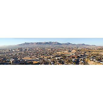 Panoramic view of skyline and downtown of El Paso Texas looking toward Juarez Mexico Poster Print