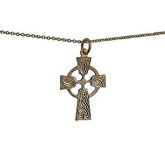 9ct oro patron a mano nudo grabado 23x16mm Cruz celta con un cable de cadena de 16 pulgadas sólo apta para los niños