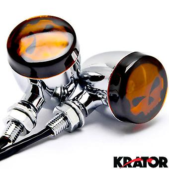 2pc Skull Lens Chrome Motorcycle Turn Signals Bulb For Harley Davidson Screamin Eagle