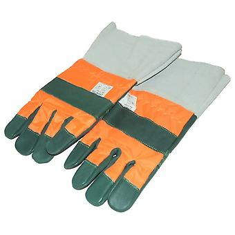 CHAINSAW GLOVES CLASS 1 WITH LEATHER CUFFS MEDIUM