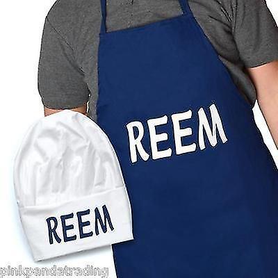COCINA delantal y CHEF sombrero con regalo de la novedad de TOWIE REEM lema conjunto azul y blanco
