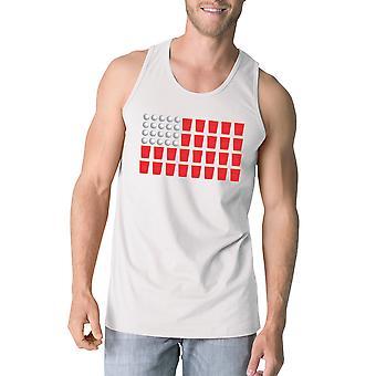 Beer Pong flagga Mens vit bomull Tank Top roliga 4 juli gåva
