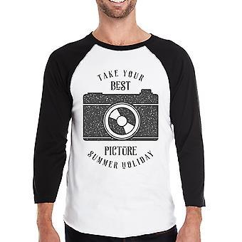 Beste zomer foto Mens Raglan 3/4 mouw T-Shirt ronde hals Tee