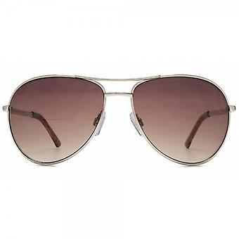 French Connection Classic Pilot Sunglasses In Gold