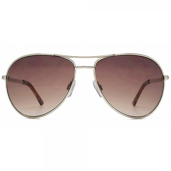 French Connection Classic Aviator Sunglasses In Gold