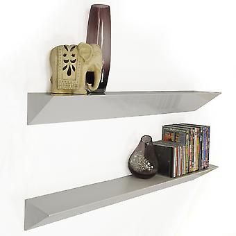 Wedge - Wall Mounted 3ft / 90cm Floating Chunky Shelves - Pack Of 2 - White
