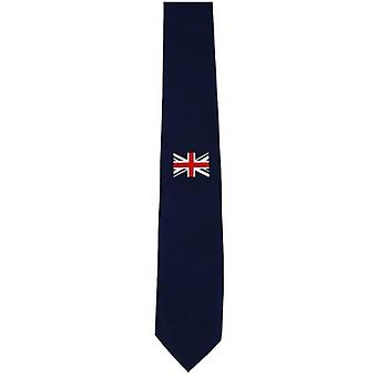 Paret av London middels enkelt Union Jack silke slips - Navy/rød/hvit