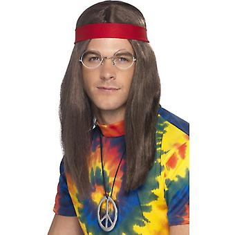 Smiffys Hippy Man Kit Brown Wig Specs Peace Sign Medallion & Headband (Costumes)