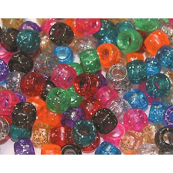 Assorted Glitter Pony Beads for Kids Crafts - 1000pk | Childrens Craft Beads