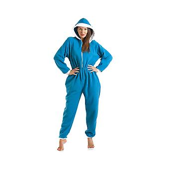 Camille Womens And Childrens Luxury All In One Blue Smurf Hooded Fleece Onesie Pyjama Size 10-40