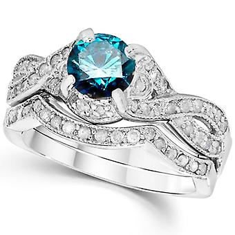 1 1/2ct Blue Diamond Engagement Ring Infinity Set 14K White Gold