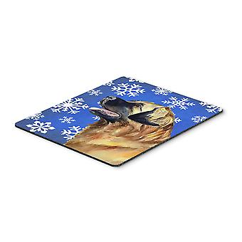 Leonberger Winter Snowflakes Holiday Mouse Pad, Hot Pad or Trivet
