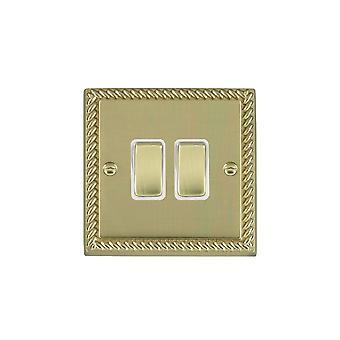 Hamilton Litestat Cheriton Georgian Polished Brass 2g 10AX Inter Rkr PB/WH