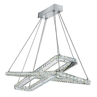Clover Chrome And Crystal 2 Square Led Pendant - Searchlight 7123cc