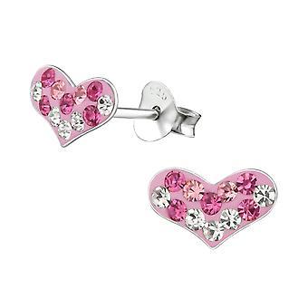 Heart - 925 Sterling Silver Crystal Ear Studs - W19248X