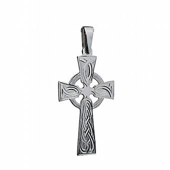 Silver 44x26mm hand engraved knot pattern Celtic Cross with bail