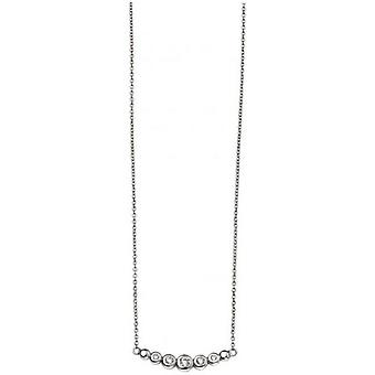 Beginnings Cubic Zirconia Small Curved Bar Necklace - Silver/Clear