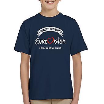 Jag tittar på för mycket Eurovision ingen sa någonsin Kid's T-Shirt
