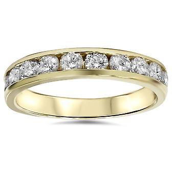 تعيين القناة الذهب الأصفر ك 1/2 قيراط 14 خاتم الزواج من الماس