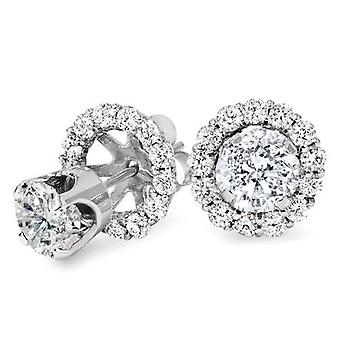 1.55CT Diamond Studs & Earring Halo Jackets 14k White Gold