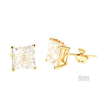 14 K Gold iced out Stud Earrings - INVISIBLE SQUARE