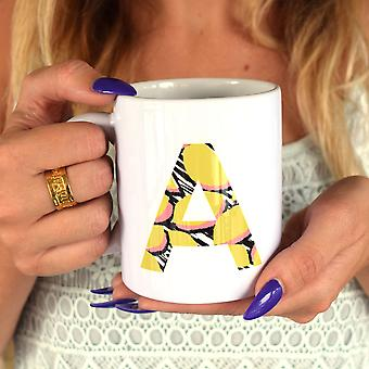 Personalised Initial & Quote Ceramic Mug With Colourful Pattern