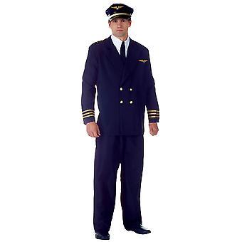 Airline Captain Pilot Flight Aviator Navy Uniform Deluxe Men Costume OS