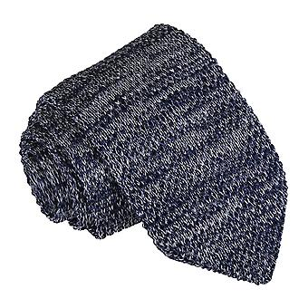 Navy Melange Plain Speckled Knitted Slim Tie
