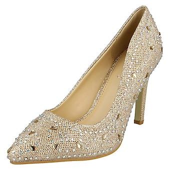 Ladies Anne Michelle Diamante Detail Court Shoes F9947
