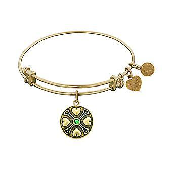 Finish Brass May Birthstone Angelica Bangle Bracelet, 7.25