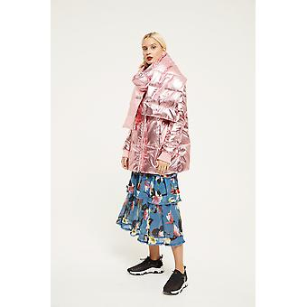 Cubic Metallic Puffer Coat