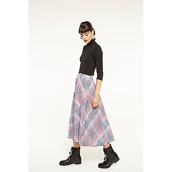 English Factory Check Pleated Midi Skirt