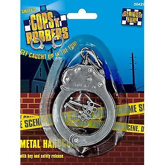 Handschellen Metall zum Polizeikostüm Fessel