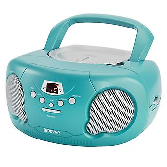 Groov-e GVPS733TL Original Boombox Portable CD Player with Radio - Teal