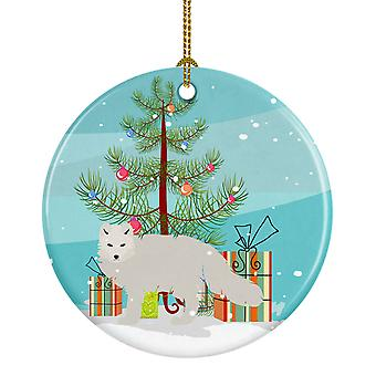Carolines Treasures  BB9244CO1 White Arctic Fox Christmas Ceramic Ornament