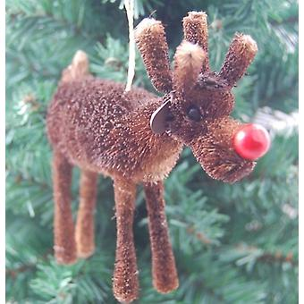 Gisela Graham Christmas Decoration - Bristle Red Nose Reindeer