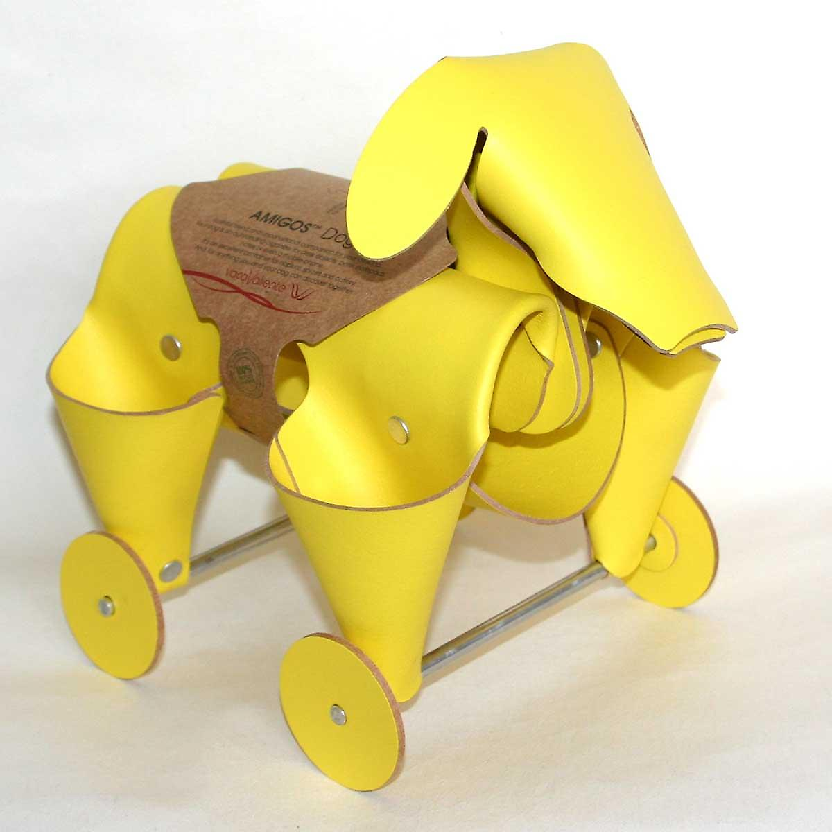 Yellow Leather Amigos Dog Desk Tidy