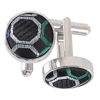 Black, Green & Silver Honeycomb Polka Dot Cufflinks