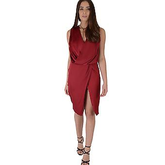 Lovemystyle Red Plunge Cowl Neck Midi Dress With Side Split - SAMPLE