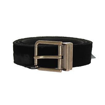 Dolce & Gabbana Black Velvet Gold Buckle Belt -- BEL1953136