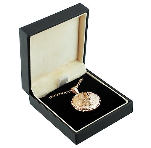 9ct Rose Gold 25mm twisted wire edge flat round Locket with Belcher chain