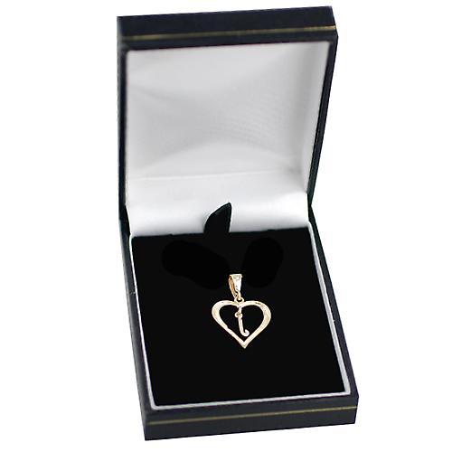 9ct Yellow Gold 18x18mm heart with a hanging Initial J