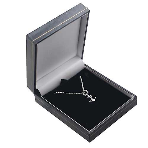 Silver 13x10mm anchor symbol of hope Pendant with a rolo Chain 16 inches Only Suitable for Children
