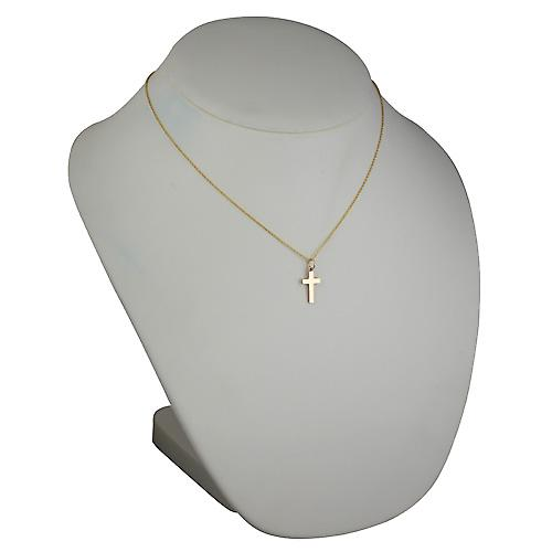 9ct Gold 17x10mm plain solid block Cross with a cable Chain 18 inches