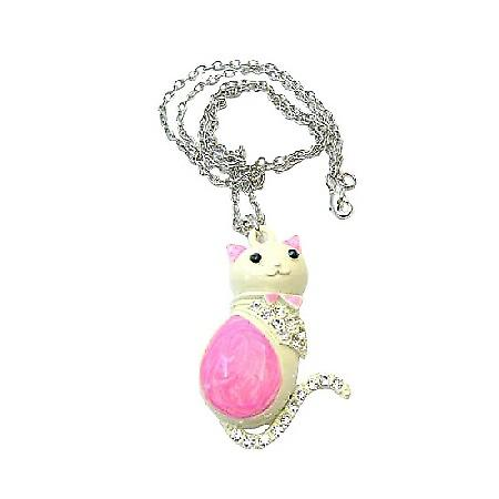 Pretty Cat Pink & White w/ Sparkling Diamante Cat Pendant Necklace