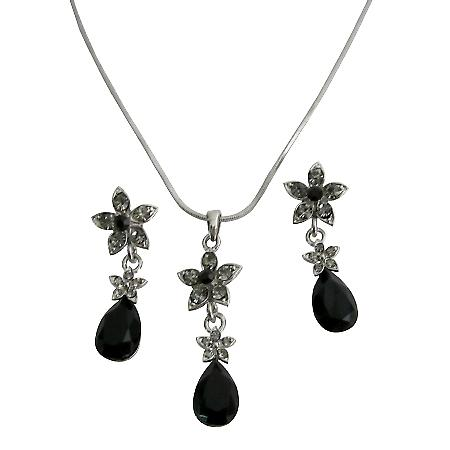 Black Crystal Wedding Jewelry Set Jet Crystals Teardrop Black diamondFlower Decorated Necklace Set Affordable Bridemaids Jewelry Set