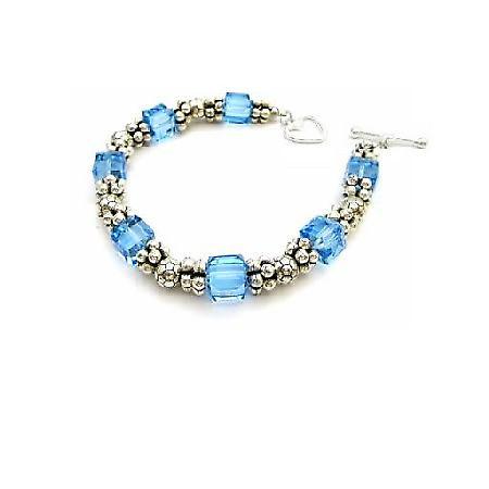 Stunning Elegant Bracelet AB Aquamarine Swarovski Crystal Bracelet Handcrafted Custom Jewelry
