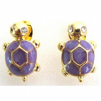 Stunning Very Cute Purple Turtle Earrings